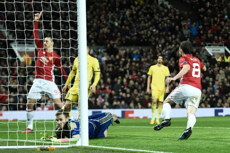 Manchester United's Juan Mata (right) scored the only goal in the Europa League victory over FC Rostov at Old Trafford stadium on March 16, 2017