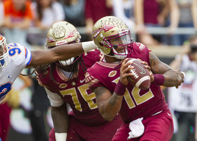 Deondre Francois (12) was dismissed from the Florida State program on Sunday. (AP Photo/Mark Wallheiser)