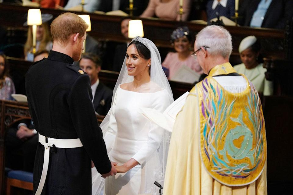 Prince Harry and Meghan Markle during their wedding service, conducted by the Archbishop of Canterbury Justin Welby in St George's Chapel at Windsor Castle (Getty)