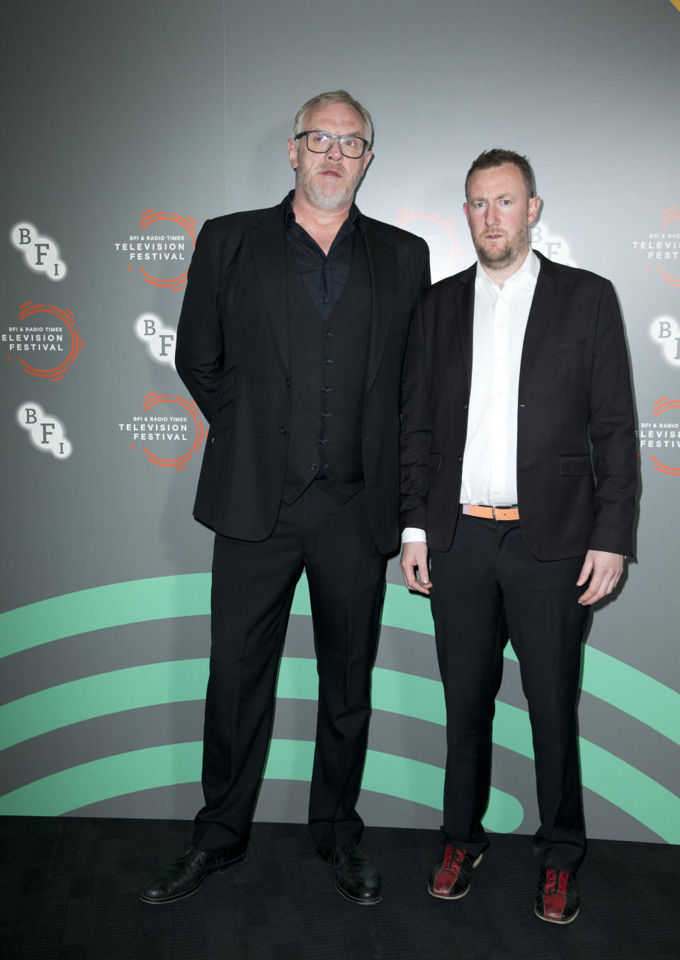Greg Davies (left) and Alex Horne attending a photocall for 'Taskmaster' during the BFI and Radio Times Television Festival at the BFI Southbank, London.