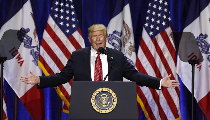 President Donald Trump speaks during the Republican Party of Iowa's America First Dinner, Tuesday, June 11, 2019, in West Des Moines, Iowa. (AP Photo/Charlie Neibergall)