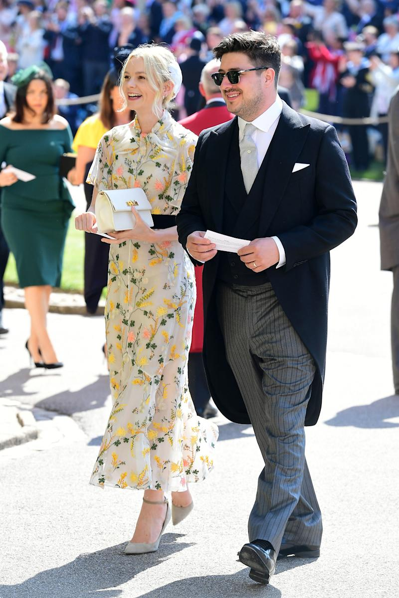 Carey Mulligan arrives at St George's Chapel at Windsor Castle before the wedding of Prince Harry to Meghan Markle on May 19, 2018 in Windsor, England.