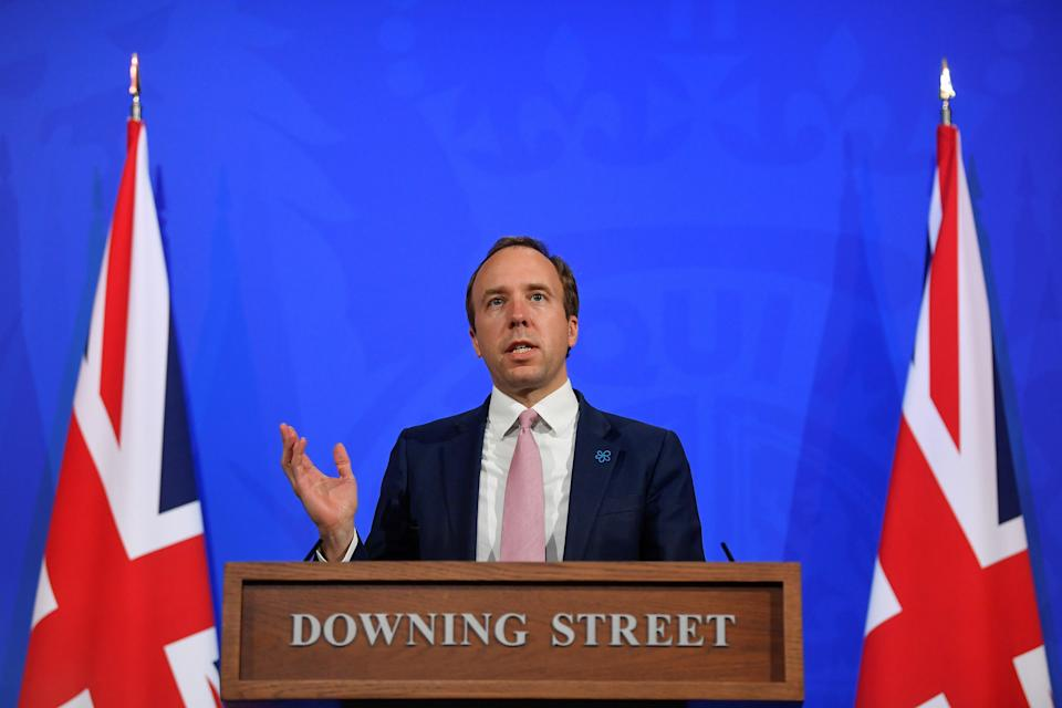 <p>Matt Hancock holding the news conference on Wednesday afternoon</p> (REUTERS)