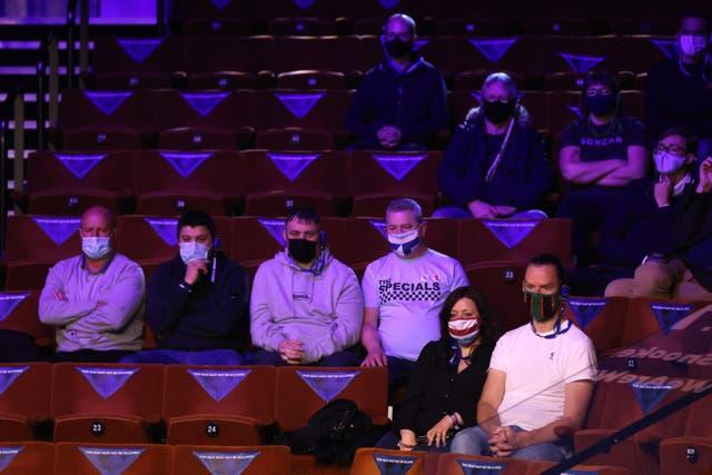 Spectators wearing face masks during Saturday's Betfred World Snooker Championships at The Crucible, Sheffield