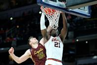 """<p>No. 8 seed Loyola University Chicago eliminated No. 1 University of Illinois in a stunning upset in the tournament's second round. By securing the 71-58 victory, Loyola moved on to the Round of 16, no doubt making team chaplain <a href=""""https://people.com/sports/sister-jean-pregame-prayer-inspires-loyola-chicago-win-illinois/"""" rel=""""nofollow noopener"""" target=""""_blank"""" data-ylk=""""slk:Sister Jean Dolores Schmidt"""" class=""""link rapid-noclick-resp"""">Sister Jean Dolores Schmidt</a> happy. </p> <p>""""It etches in your memory, that moment right there,"""" head coach Porter Mose said after the game, according to<a href=""""https://www.midmajormadness.com/2021/3/21/22343247/ncaa-tournament-second-round-2021-recap-loyola-chicago-ramblers-illinois-fighting-illini-upset"""" rel=""""nofollow noopener"""" target=""""_blank"""" data-ylk=""""slk:SB Nation"""" class=""""link rapid-noclick-resp""""> SB Nation</a>. """"All the work you put in, all the effort you do to stay together, the sacrifices you make.""""</p>"""