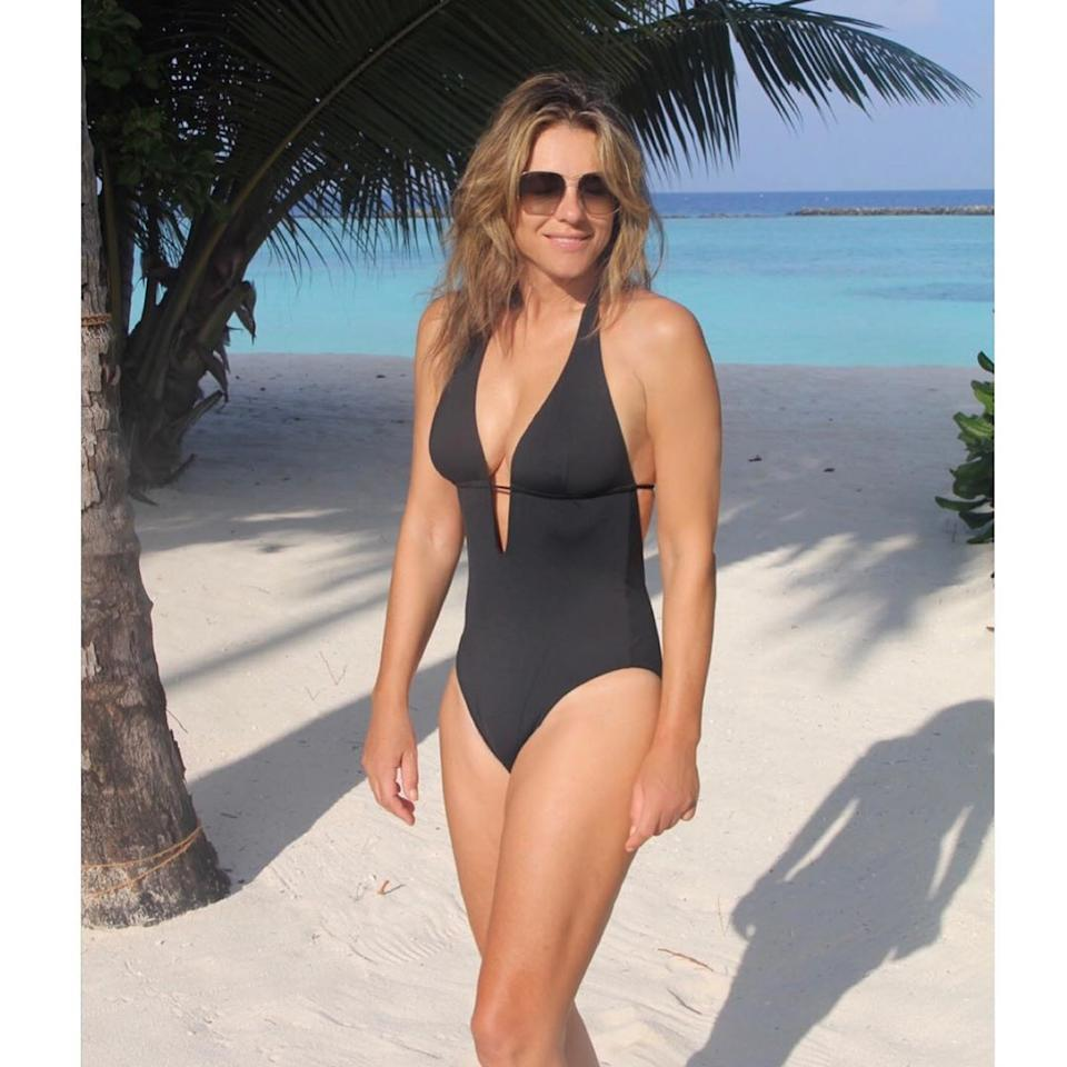 Liz Hurley in a black swimsuit