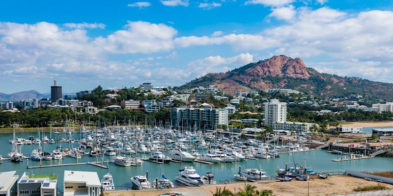Townsville marina and Castle Hill.