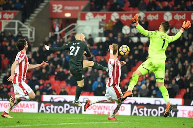 Stoke 0 Manchester City 2: David Silva double fires league leaders closer to Premier League title