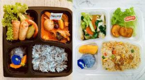 At left, the Heura Red Curry (S) bento box and the Vegetarian Fried Rice with Quorn Nuggets (S) at right. Images: Blue Jasmine