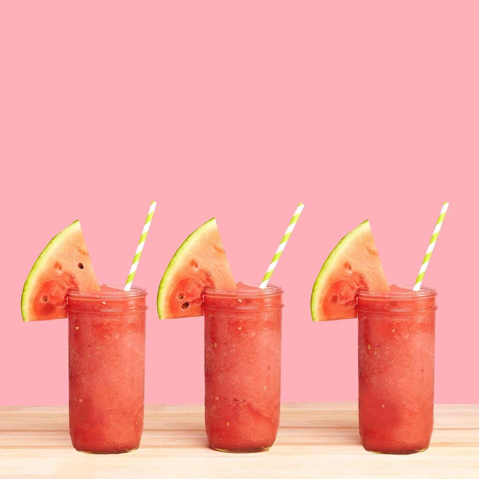 """<p>This stupid-easy recipe requires no ice. Frozen watermelon cubes do the job on their own. I know — it's all kinds of game-changing.</p><p>Get the recipe from <a href=""""https://www.delish.com/cooking/videos/a43316/frozen-watermelon-daiquiri/"""" rel=""""nofollow noopener"""" target=""""_blank"""" data-ylk=""""slk:Delish"""" class=""""link rapid-noclick-resp"""">Delish</a>. </p>"""