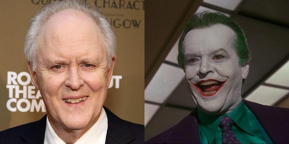 "<p>When it came time for Tim Burton to cast <em>Batman</em>, he didn't <em>only</em> look at the legendary Jack Nicholson for the role. In 2017, John Lithgow <a href=""https://www.vulture.com/2017/06/john-lithgow-could-have-played-the-joker-but-turned-it-down.html"" rel=""nofollow noopener"" target=""_blank"" data-ylk=""slk:told Vulture a story"" class=""link rapid-noclick-resp"">told <em>Vulture</em> a story</a> about his audition for the comic book villain in which, ""I tried to persuade him I was not right for the part, and I succeeded."" </p>"