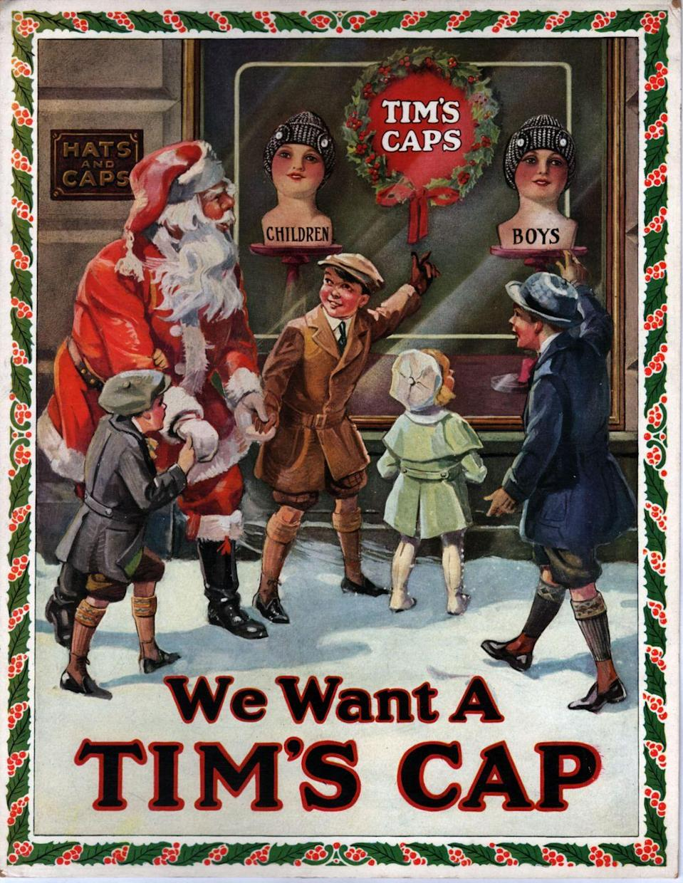 <p>A group of children point out to Santa the desirable new fashion piece: Tim's Caps hats for boys. Hopefully, he was taking notes.</p>