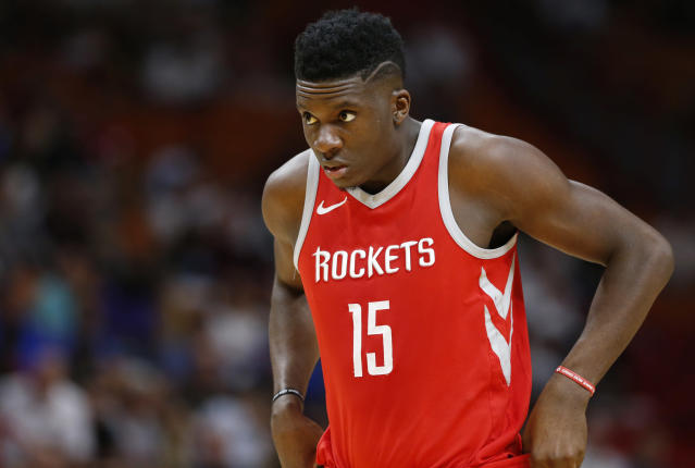 "Rockets center <a class=""link rapid-noclick-resp"" href=""/nba/players/5336/"" data-ylk=""slk:Clint Capela"">Clint Capela</a> averaged a double-double this season. (AP)"