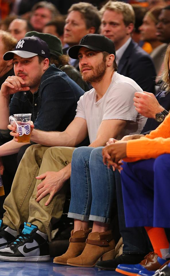 NEW YORK, NY - APRIL 23:  Actor Jake Gyllenhaal during Game two of the Eastern Conference Quarterfinals of the 2013 NBA Playoffs at Madison Square Garden on April 23, 2013 in New York City.  NOTE TO USER: User expressly acknowledges and agrees that, by downloading and or using this photograph, User is consenting to the terms and conditions of the Getty Images License Agreement.  (Photo by Al Bello/Getty Images)