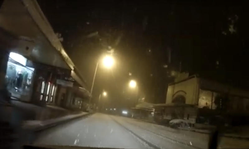 Dashcam shows Blackheath covered in snow overnight. Source: Blackheath Weather