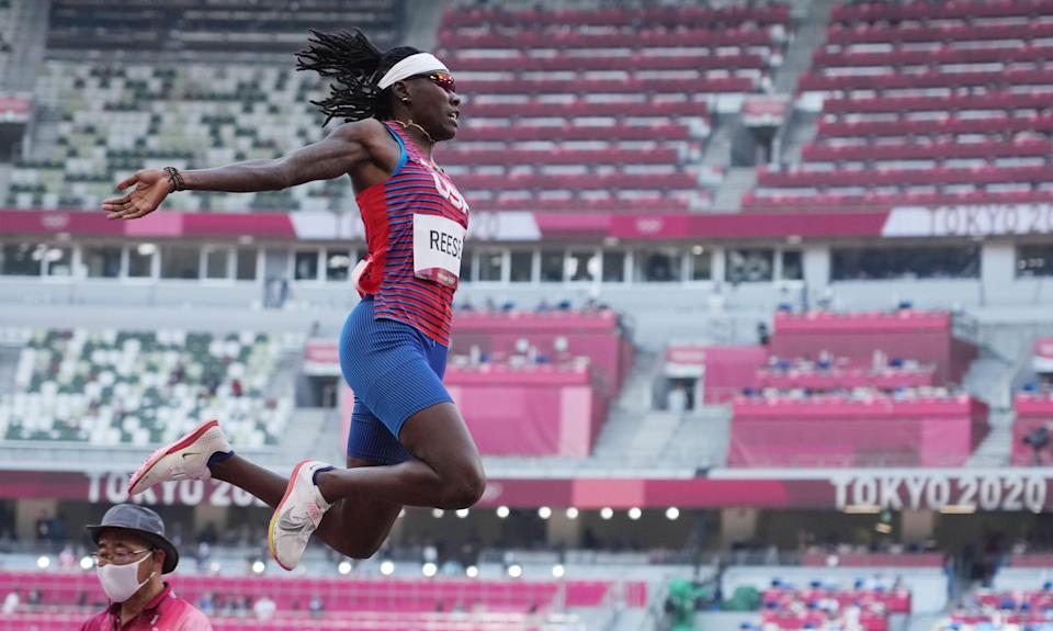 Brittney Reese competes during the women's long jump qualification round.