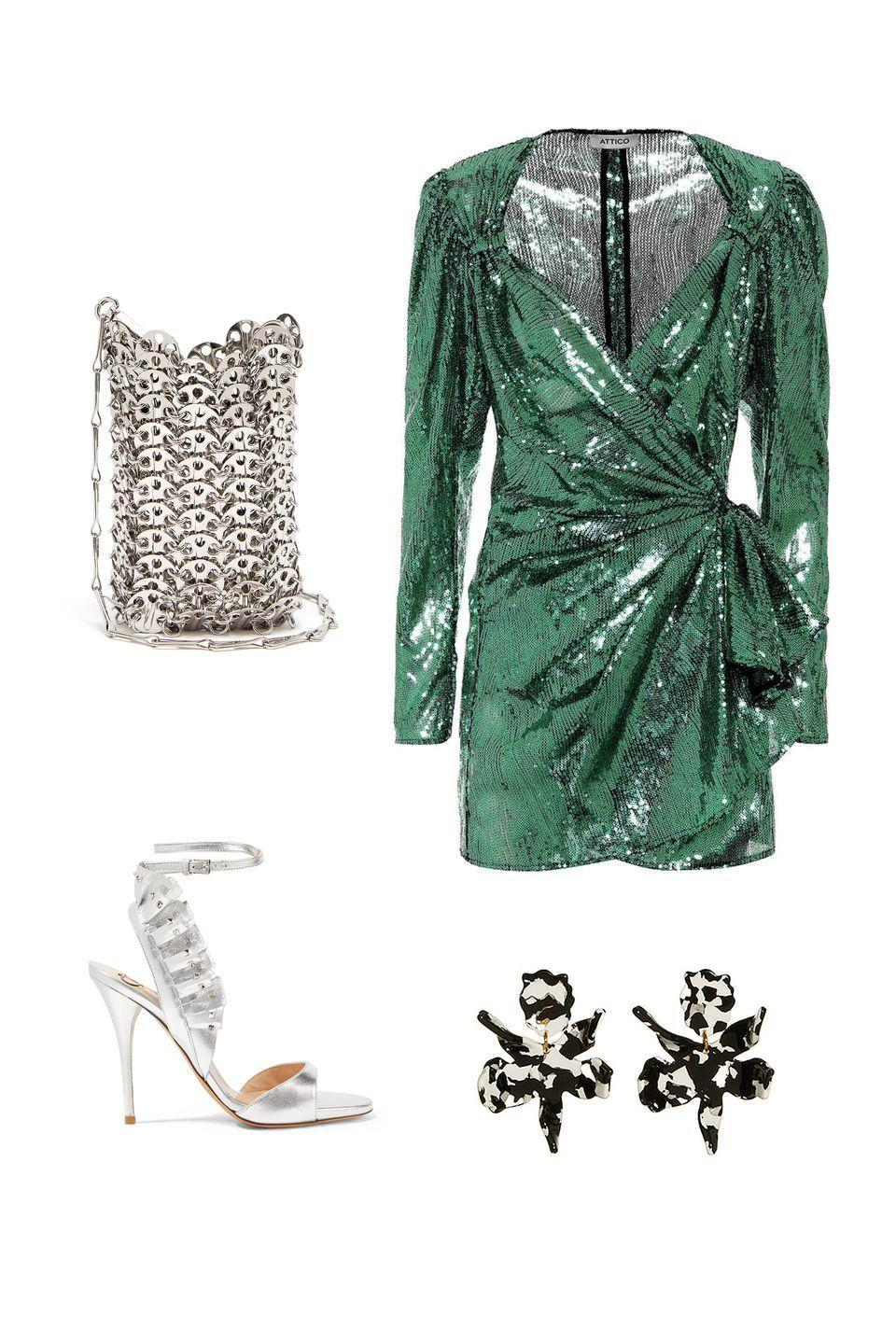 """<p>City weddings in the couple's favorite after hours spot require dance-floor-ready dresses and accessory pieces that catch the light. Embrace this season's nod to eras past with a sequin mini dress and long sleeves.</p><p><em><strong>Attico </strong>mini dress, $660, <a rel=""""nofollow noopener"""" href=""""https://shop.harpersbazaar.com/designers/attico/green-sequin-mini-dress-26965.html"""" target=""""_blank"""" data-ylk=""""slk:shopBAZAAR.com"""" class=""""link rapid-noclick-resp"""">shopBAZAAR.com</a>; <strong>Valentino Garavani </strong>leather pumps, $698, <a rel=""""nofollow noopener"""" href=""""https://www.mytheresa.com/en-de/valentino-valentino-garavani-rockstud-leather-pumps-1051578.html?catref=category"""" target=""""_blank"""" data-ylk=""""slk:mytheresa.com"""" class=""""link rapid-noclick-resp"""">mytheresa.com</a>; <strong>Lele Sadoughi </strong>earrings, $125, <a rel=""""nofollow noopener"""" href=""""https://shop.harpersbazaar.com/designers/lele-sadoughi/small-paper-lily-earring-black-marble-24189.html"""" target=""""_blank"""" data-ylk=""""slk:shopBAZAAR.com"""" class=""""link rapid-noclick-resp"""">shopBAZAAR.com</a>; <strong>Paco Rabanne </strong>clutch, $800, <a rel=""""nofollow noopener"""" href=""""https://www.matchesfashion.com/us/products/Paco-Rabanne-Iconic-mini-chain-clutch-1219559"""" target=""""_blank"""" data-ylk=""""slk:matchesfashion.com"""" class=""""link rapid-noclick-resp"""">matchesfashion.com</a>.</em></p>"""