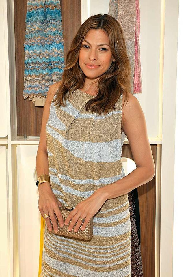 """Style mavens such as """"Ghost Rider's"""" Eva Mendes sported the label's frocks in its signature bold, brightly-colored patterns. Loving the gold cuff, Eva! Charley Gallay/<a href=""""http://www.gettyimages.com/"""" target=""""new"""">GettyImages.com</a> - March 17, 2010"""
