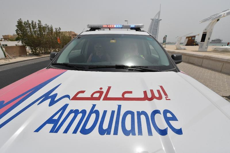 A pink ambulance of the Women Responders team is seen in Dubai on July 13, 2017 (AFP Photo/GIUSEPPE CACACE)