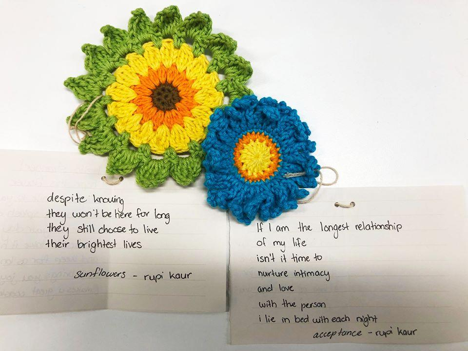 The crochet flowers were accompanied by poems by Rupi Kaur. Source: Brisbane Libraries