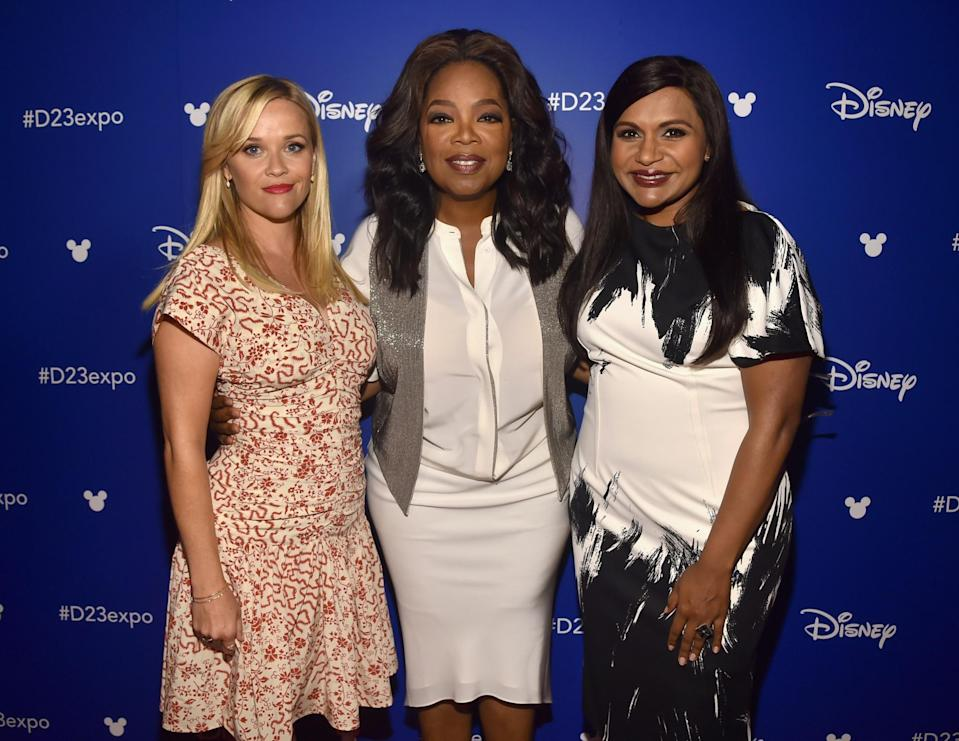 <p>Reese Witherspoon (Mrs. Whatsit), Oprah Winfrey (Mrs. Which), and Mindy Kaling (Mrs. Who) pose backstage. (Photo: Getty Images for Disney) </p>