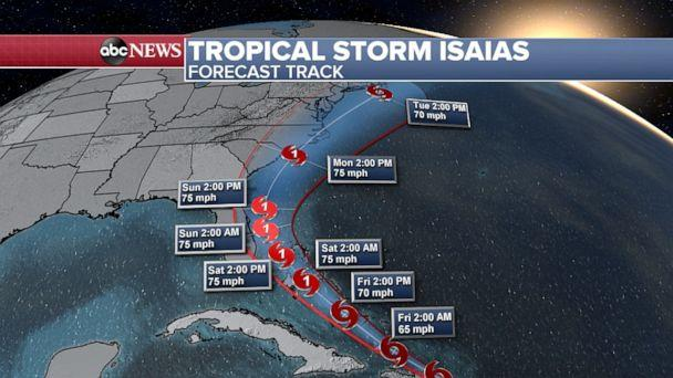 PHOTO: Tropical Storm Isaias may strengthen into a hurricane if it remains over the Atlantic Ocean. (ABC News)