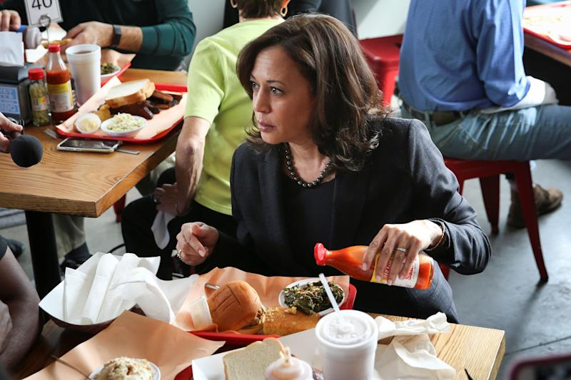 Sen. Kamala Harris (D-Calif.) stopped by Rodney Scott's BBQ for a meal in Charleston, South Carolina, on Feb. 15.