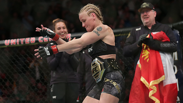 UFC flyweight champion Valentina Shevchenko landed a brutal head kick to knockout Jessica Eye at UFC 238.