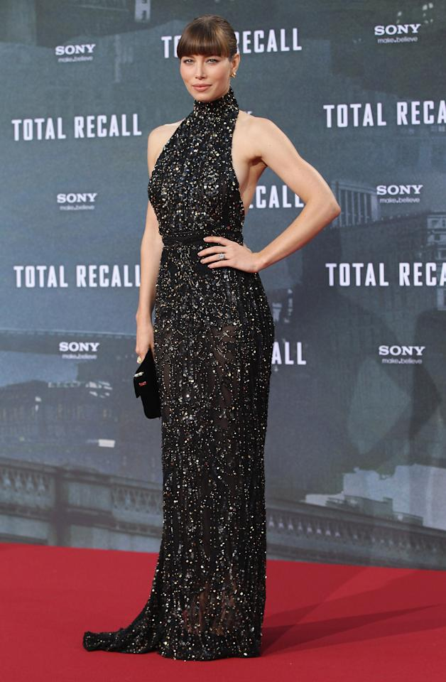 """BERLIN, GERMANY - AUGUST 13:  Actess Jessica Biel attends the Germany premiere of """"Total Recall"""" at Sony Center on August 13, 2012 in Berlin, Germany.  (Photo by Sean Gallup/Getty Images for Sony)"""
