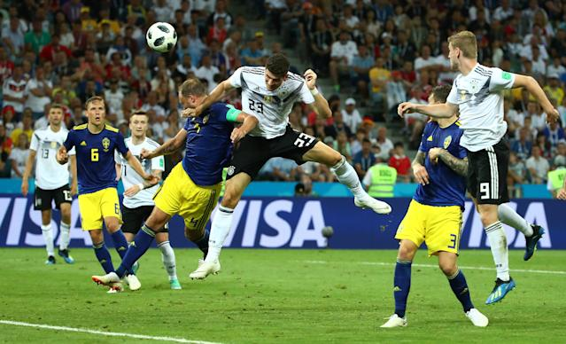 Soccer Football - World Cup - Group F - Germany vs Sweden - Fisht Stadium, Sochi, Russia - June 23, 2018 Germany's Mario Gomez misses a chance to score REUTERS/Michael Dalder