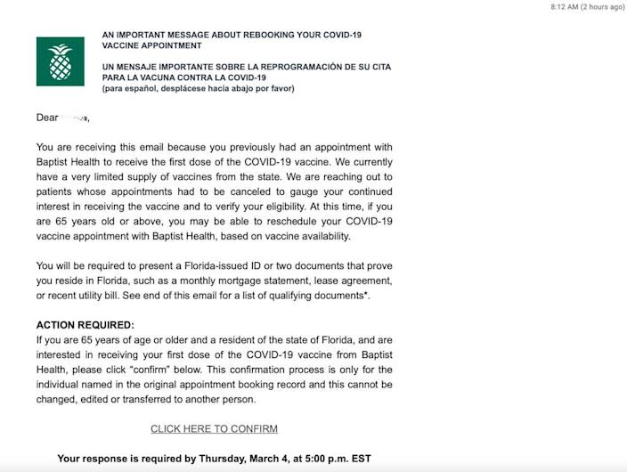 Baptist Health South Florida sent this email on Wednesday morning, Feb. 3, 2021, to patients who had previously scheduled an appointment for a COVID vaccination in January but whose first dose appointments were canceled.