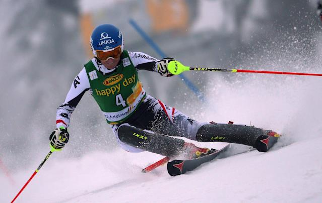 Marlies Schild of Austria competes during the first run of a alpine women's World Cup Slalom in Kranjska Gora, Slovenia, Sunday, Feb. 2, 2014. (AP Photo/Giovanni Auletta)