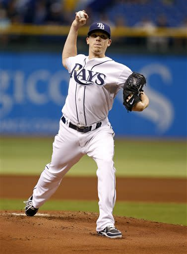 Tampa Bay Rays starting pitcher Jeremy Hellickson throws during the first inning of a baseball game against the Minnesota Twins, Wednesday, July 10, 2013, in St. Petersburg, Fla. (AP Photo/Mike Carlson)