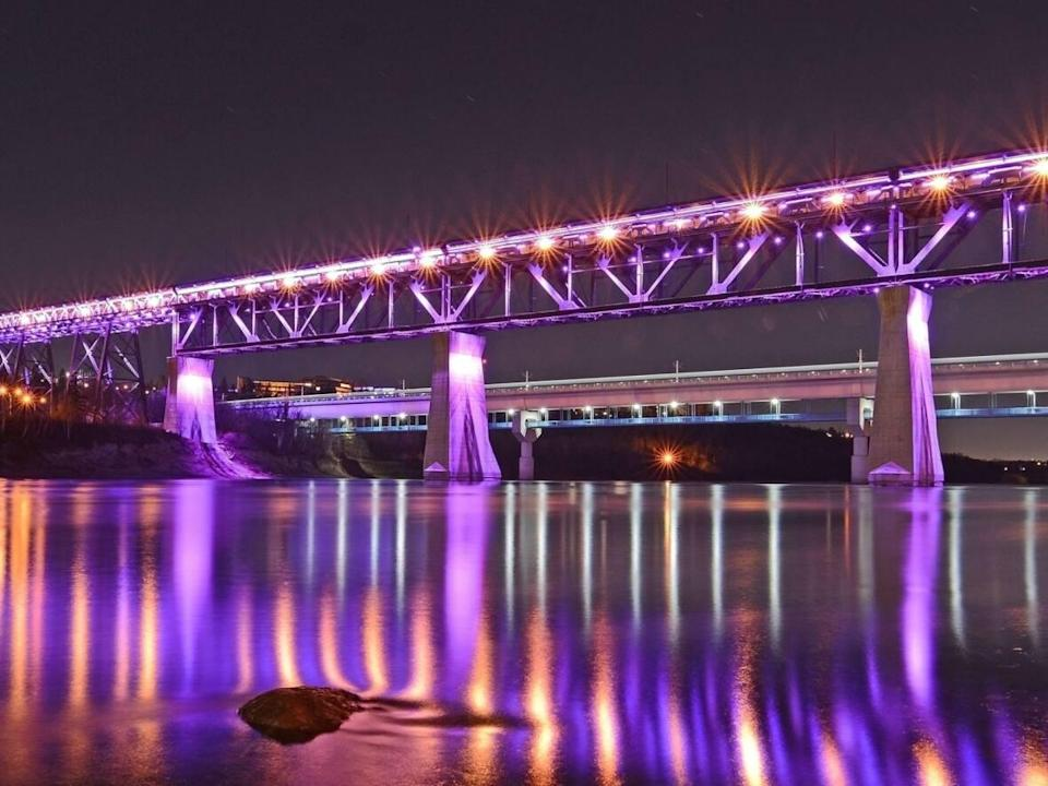 The City of Edmonton has been receiving requests to light the High Level Bridge, shown here, for certain events and causes since 2014. (David Jackston photography  - image credit)