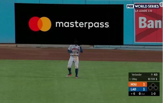 A World Series a digital gives the illusion that George Springer's head disappeared.