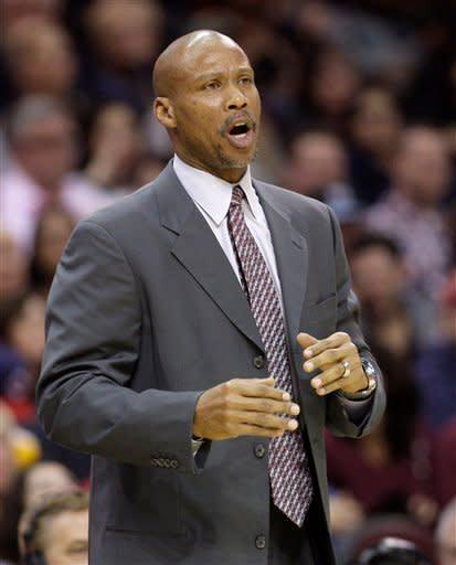 Cleveland Cavaliers head coach Byron Scott reacts in the fourth quarter in an NBA basketball game against the New Jersey Nets, Friday, Jan. 27, 2012, in Cleveland. The Nets won 99-96. (AP Photo/Tony Dejak)
