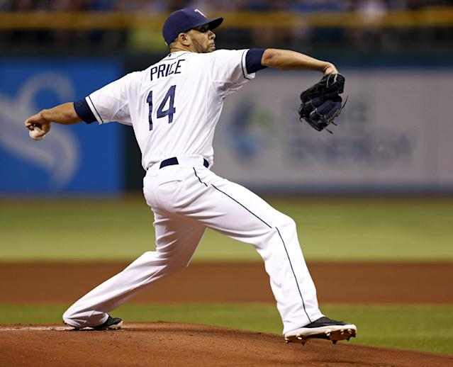 Tampa Bay Rays starting pitcher David Price throws during the first inning of a baseball game against the San Francisco Giants Saturday, Aug. 3, 2013, in St. Petersburg, Fla. (AP Photo/Mike Carlson)