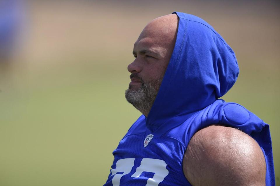 Rams' left tackle Andrew Whitworth warms up before a practice in Thousand Oaks.