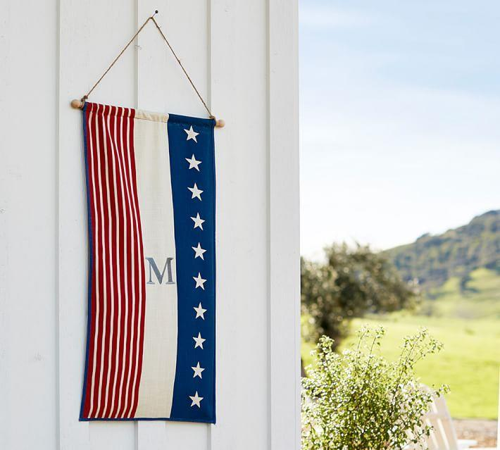 "<p>There's nothing more thoughtful than adding a personalized accessory to a party. This festive flag, which features an initial, is good enough to display beyond the holiday.</p><p><a class=""body-btn-link"" href=""https://go.redirectingat.com?id=74968X1596630&url=https%3A%2F%2Fwww.potterybarn.com%2Fproducts%2Ffourth-july-decor-pz-flag%2F%3Fpkey%3Ds%257Cjuly%2B4%257C19&sref=http%3A%2F%2Fwww.elledecor.com%2Flife-culture%2Fentertaining%2Fnews%2Fg3111%2F4th-of-july-decorations%2F"" target=""_blank"">SHOP NOW</a> <em>Americana Flag, $35</em></p>"
