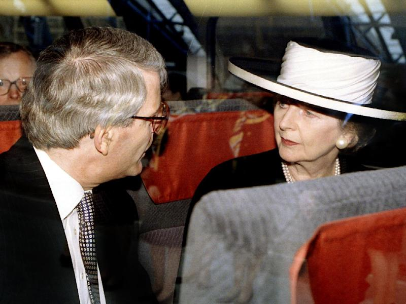 John Major and Margaret Thatcher on the inaugural Eurostar crossing in 1994, when the tunnel opened after 200 years of objections and fears had been overcome (Reuters)