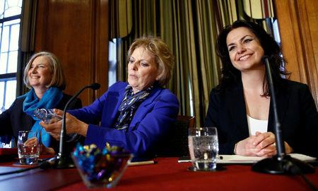 British Conservative Party MPs Heidi Allen, Anna Soubry and Sarah Wollaston attend a news conference in London