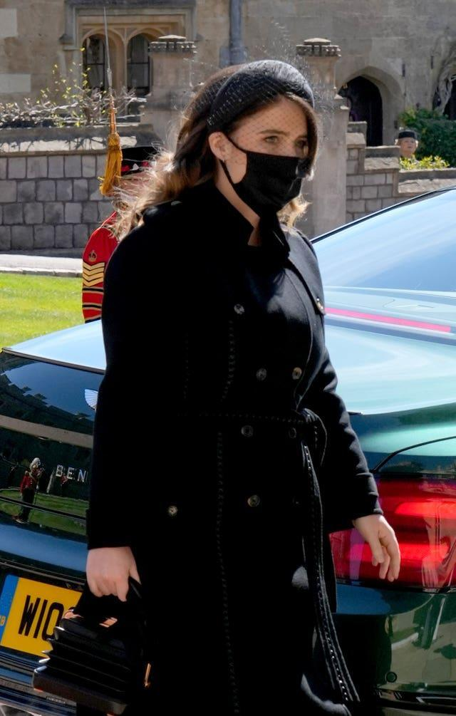 Princess Eugenie arrives for the funeral