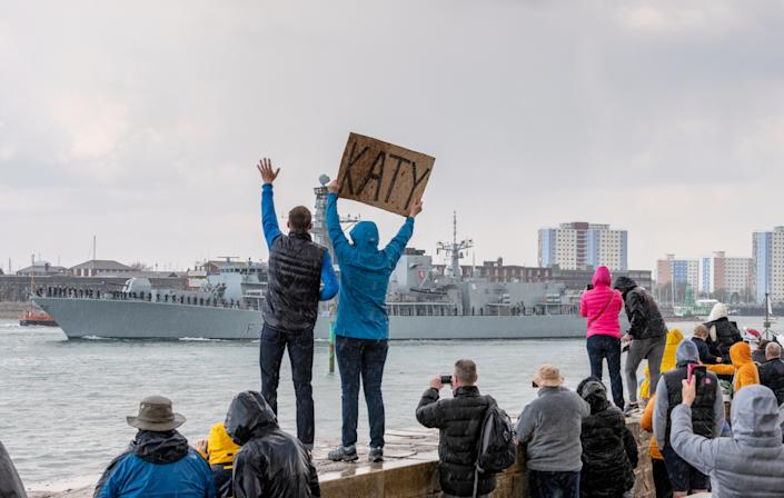 HMS Kent also sails from Portsmouth as part of the carrier group. (SWNS)
