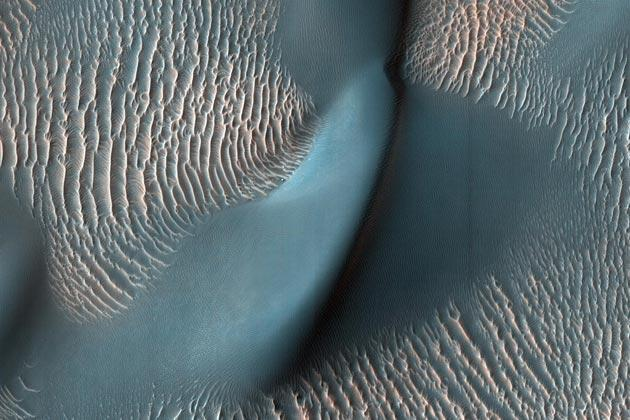 This view from the High Resolution Imaging Science Experiment (HiRISE) camera on NASA's Mars Reconnaissance Orbiter shows two classes of aeolian bedforms within Proctor Crater. The relatively bright, small ridges are ripples. From their study on Earth, and close-up examination by the MER rovers (roving elsewhere on Mars), we know that ripples are composed of fine sand (less than 200 microns in diameter) or fine sand coated with coarser sand and granules.Image Credit: NASA/JPL-Caltech/University of Arizona
