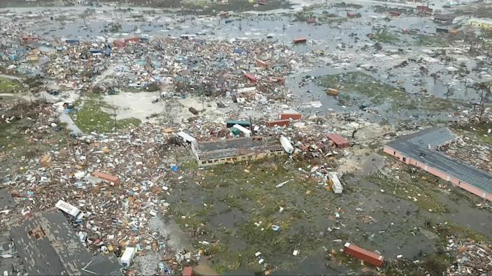 An aerial view of devastation after hurricane Dorian hit the Abaco Islands in the Bahamas, September 3, 2019, in this still image from video obtained via social media. (Photo: Terran Knowles/Our News Bahamas/via Reuters)