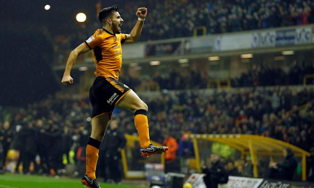 Rúben Neves celebrates after giving Wolves the lead.