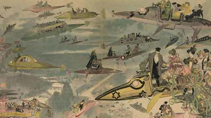 Le Sortie de l'opéra. Air travel over Paris in 2000, as imagined in the late 1800s. image credit: Library of Congress