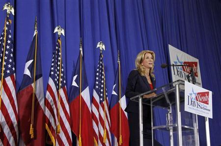 Texas state Senator Wendy Davis speaks to supporters in Haltom City