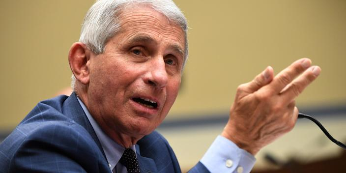 """Dr. Anthony Fauci, the director of the National Institute for Allergy and Infectious Diseases, testifying in Washington, DC, on July 31. <p class=""""copyright"""">Kevin Dietsch/Pool via REUTERS</p>"""