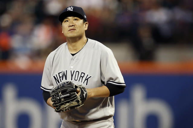 New York Yankees pitcher Masahiro Tanaka reacts during the fifth inning of a baseball game against the New York Mets, Friday, June 8, 2018, in New York. (AP Photo/Adam Hunger)